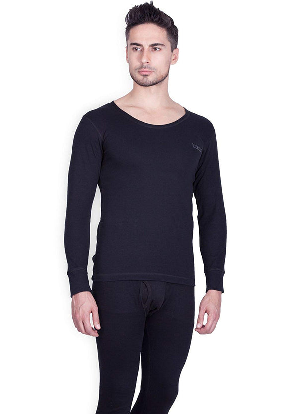 Men's Black Round Neck Thermal (THR-2)