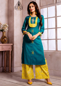 Dhanari Blue Color Kurti With Printed Palazoo For Women (KU-254) E000000010