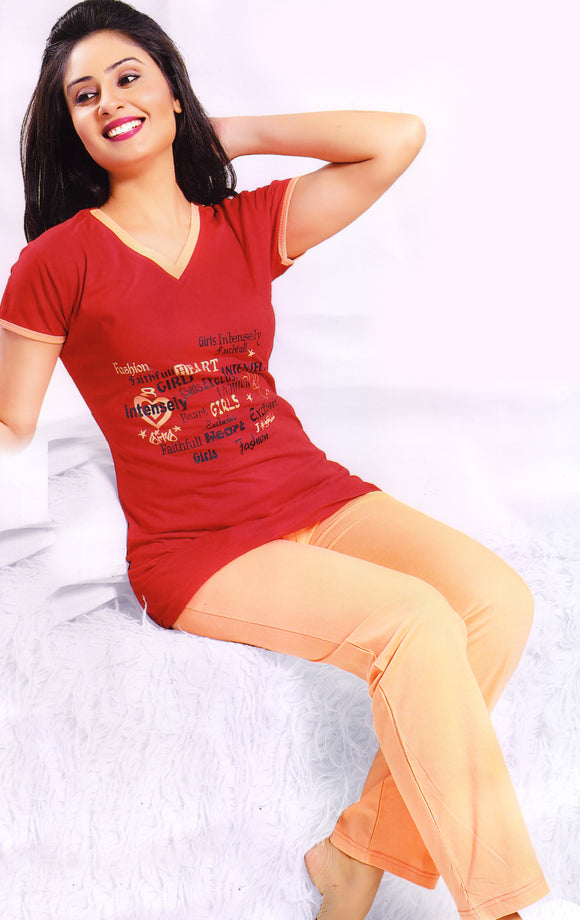 Dhanari  Top To Bottom Night Wear For Women's (NS-30) D016