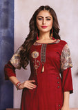 Dhanari Maroon Kurti With Palazoo For Women (KU-254) E00000002