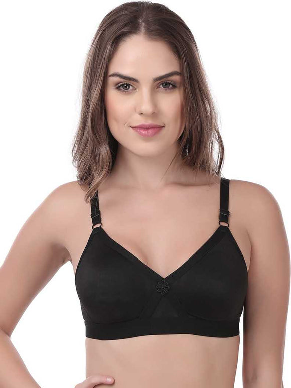 Softline Butterfly Comfortable Women's Bra (BRA_2001_ Black)
