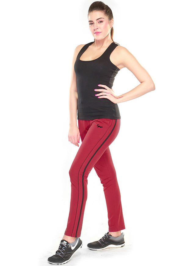 Dhanari Lyra Leisure Persino Red Color Track Pant For Women's (TPA-310) A4