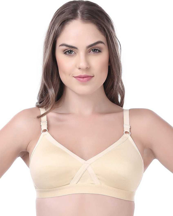 Softline Butterfly Comfortable Women's Skin Color Bra (BRA_2001_ Skin)