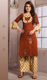 Dhanari Brown Kurti With Printed Palazoo For Women (KU-254) E00000006