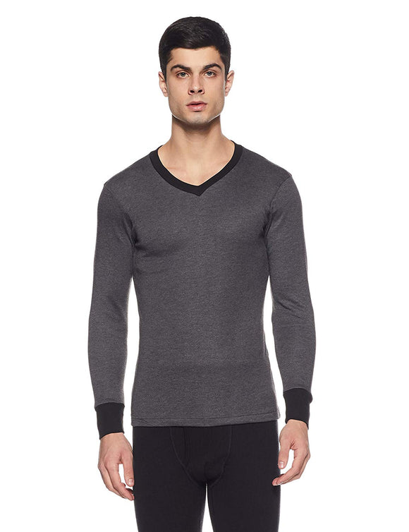 Men's V Neck Black Melange Color Thermal (THR-M1003)