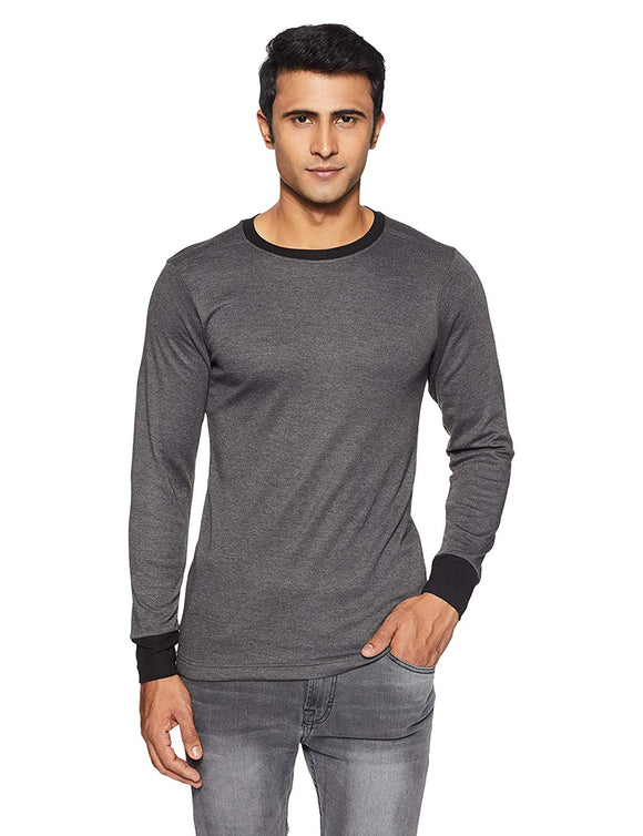 Men's Round Neck Black Melange Color Thermal (THR-M1001)