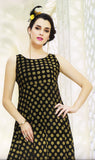 Dhanari Women's Printed  Black Long Kurti (KU-71) D9