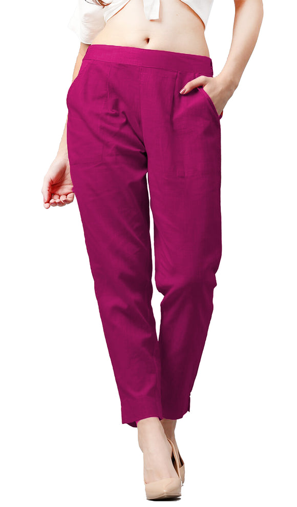 Lux Lyra Fuschia Color Pencil Pants For Women's (PA-1) A2