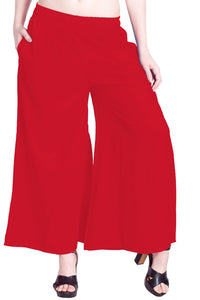Lux Lyra Women's Red Color Palazzo (PL-32)F012