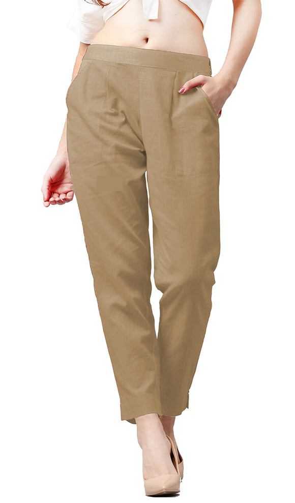 Lux Lyra Women's Beige Color Pencil Pant (PA-1) A3