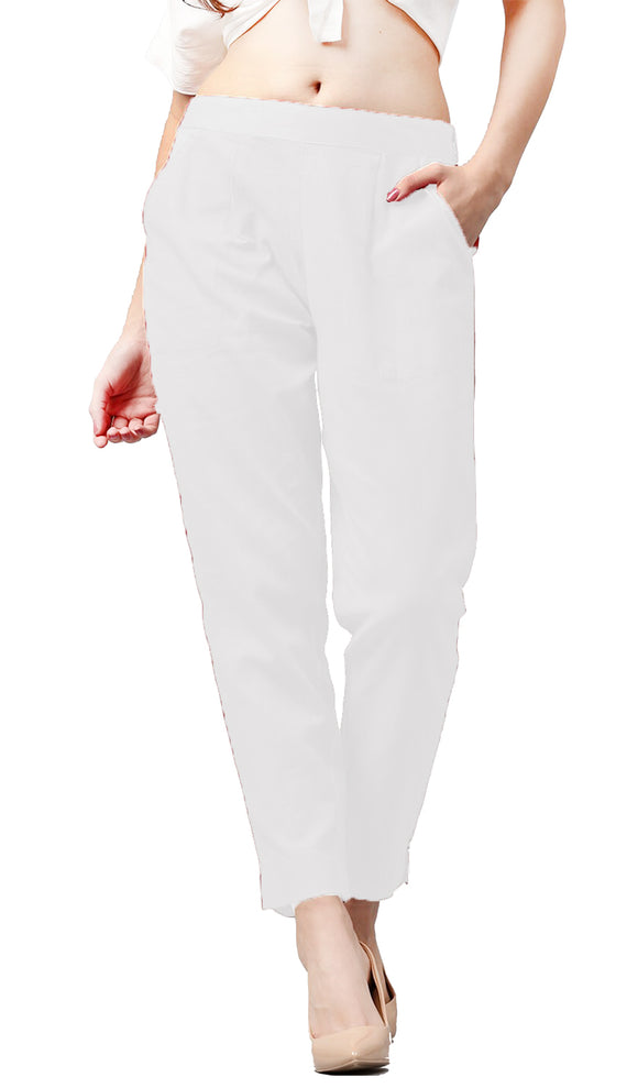 Lux Lyra Women's Off White Color Regular Fit Pencil Pants (PA-1) A6