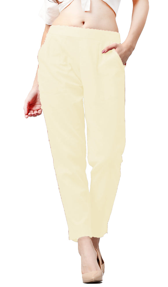 Lux Lyra Cream Color Pencil Pants For Women's (PA-1) A8