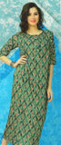 Dhanari Women's Round Neck Half Sleeves Green Printed Kurti (KU-87) T6