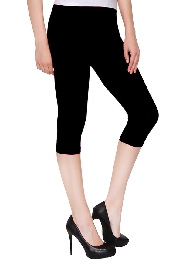 Dollar Missy Black Color Capri Leggings (CAPRI-01)