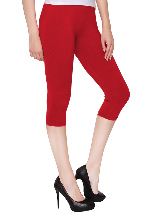 Lux Lyra Red Color Capri Leggings (CAPRI-12)