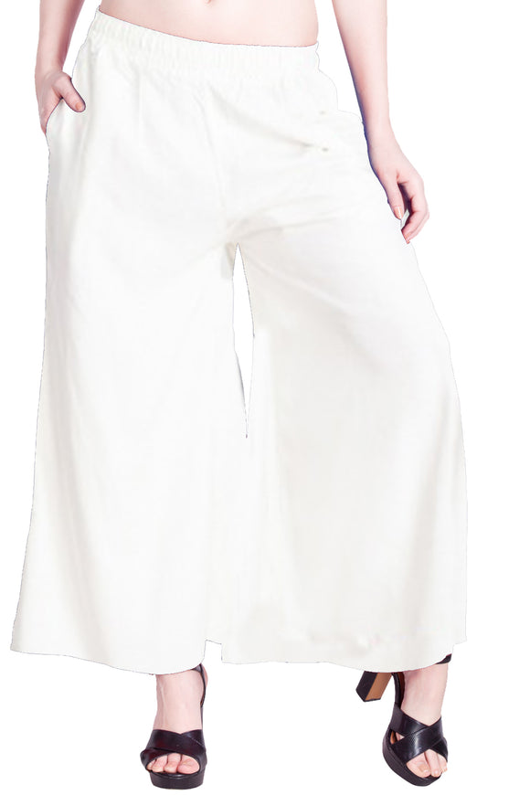 Lux Lyra Women's White Color Palazzo (PL-32)F011
