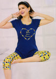 Dhanari Blue Color With Printed Capri Night Suit For Wome's (NS-4)D15