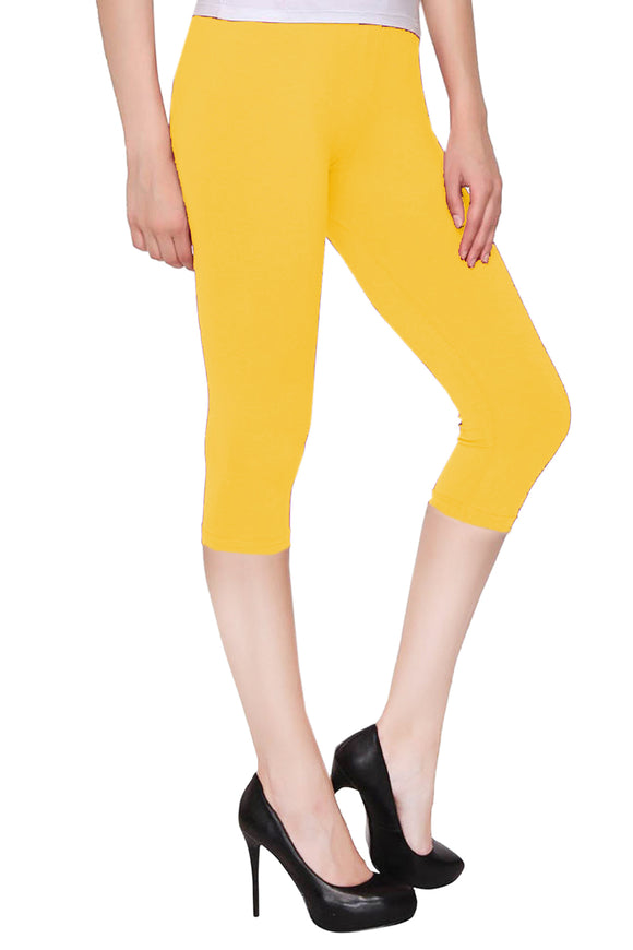 Lux Lyra Yellow Color Capri Leggings (CAPRI-60)