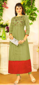 Dhanari Yellowish Color Stylish Long Kurti For Women's (KU-74) G3