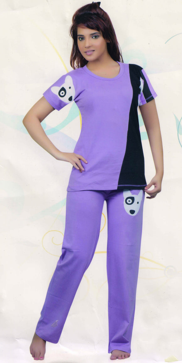 Dhanari Purple Color Stylish Night Suit For Women's (NS-7) G3