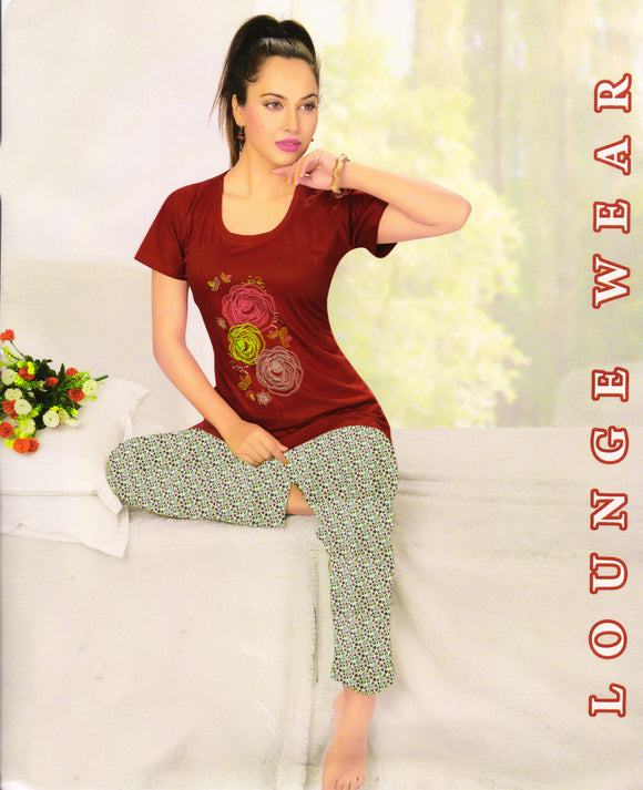 Dhanari Maroon Color Night Suit For Women's (NS-8) H3