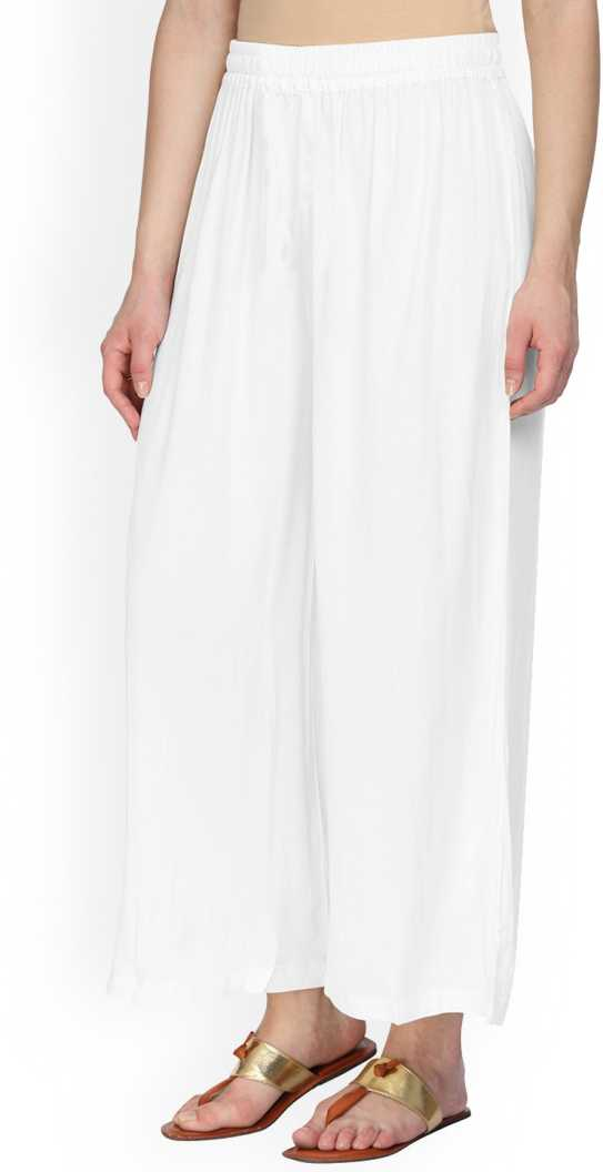 IKW Liva White Color Plain Palazoo For Women's (PL-32) F018