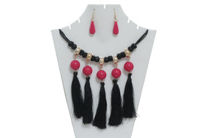 Dhanari Pink Pearls With Hanging Black Threads Women's Jewellery (JW-29) B01
