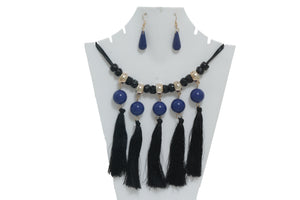 Dhanari Blue Pearls With Hanging Black Threads For Women's  (JW-29) B02