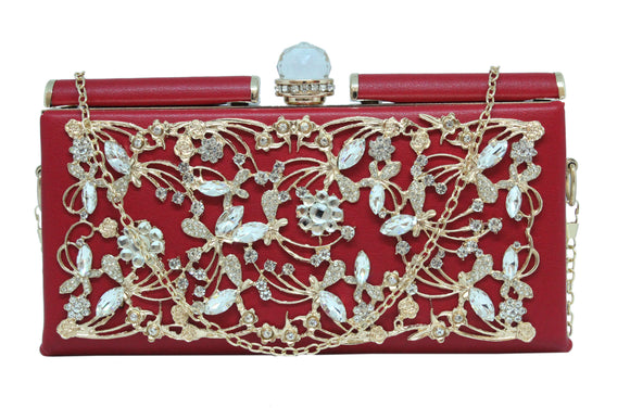 Dhanari Women's Red Clutch With Unique Upper Design (BG-82) D0001