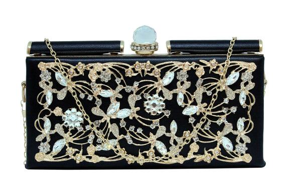 Dhanari Women's Black Clutch With Unique Upper Crystal Design (BG-82) D0002