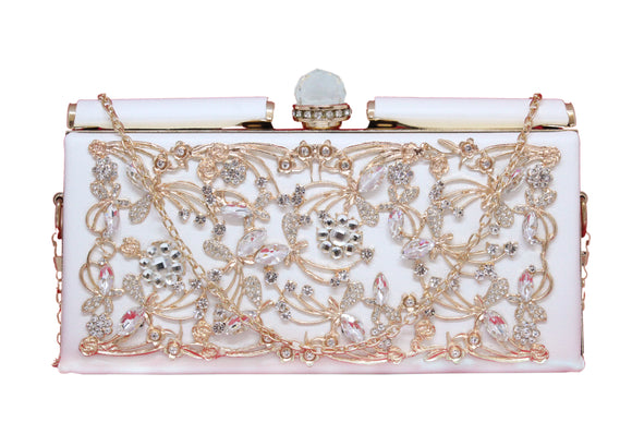Dhanari Women's White Clutch With Unique Upper Crystal Design (BG-82) D0003