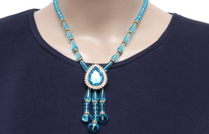 Dhanari Women's Crystal Blue Color Necklace Set (JW-36)I01