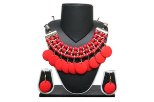 Dhanari Red Color Women's Hanging Button Jewellery (JW-37)J04