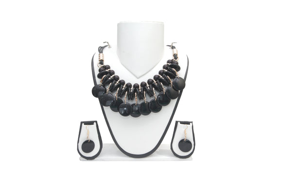 Dhanari Black Color Buttons Women's Necklace With Earings (JW-40)M01