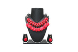 Dhanari Red Color Buttons Women's Necklace Set (JW-40)M03