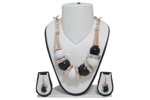 Dhanari Women's Black And White Balls Necklace (JW-43) P06