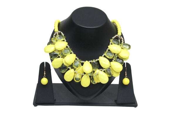 Dhanari Women's Yellow Crystal Necklace (JW-23) V2