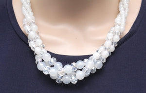 Dhanari Women's White Crystal Stone Necklace (JW-44) Q06