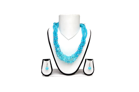 Dhanari Women's Double Lining Blue Beads Crystal Necklace (JW-44)Q07