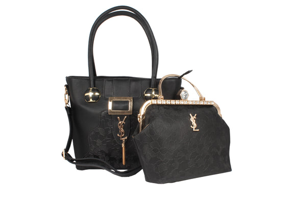 Dhanari Designer Black Color Combo Handbag For Women's (BG-87) I0002