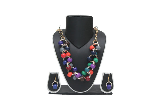 Dhanari Multicolor Beads Women's Necklace Set (JW-46)S01