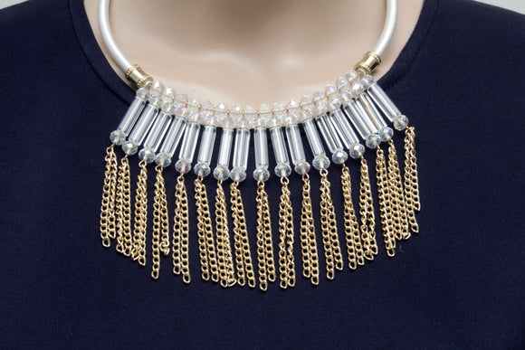 Dhanari White Color Crystal With Hanging Golden Chain Women's Jewellery (JW-47)T03