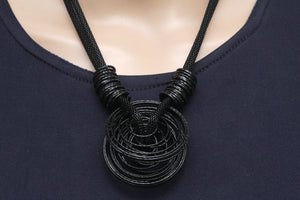 Dhanari Women's Black Color Ring Shape Pendant Necklace (JW-54)A001