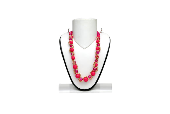 Dhanari Pink Pearls With Golden Chain Necklace For Women's And Girls (JW-55) B005