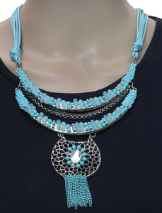 Dhanari Women's Blue Color Beads Pendant Necklace  (JW-59)F004