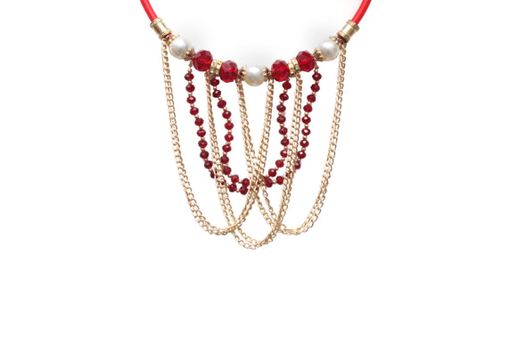 Dhanari Red And Golden Necklace For Women's (JW-64) K002