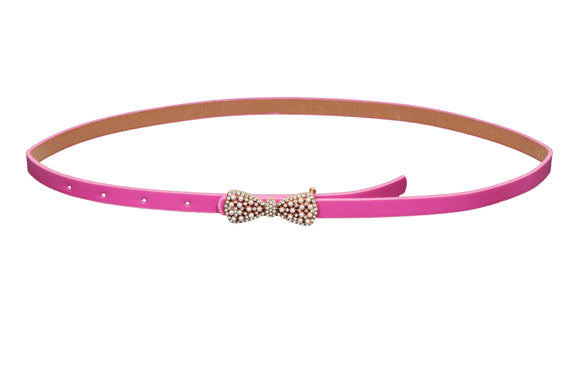 Dhanari Women's Pink Color Diamond Bow Buckle Belt (BL-8) H62