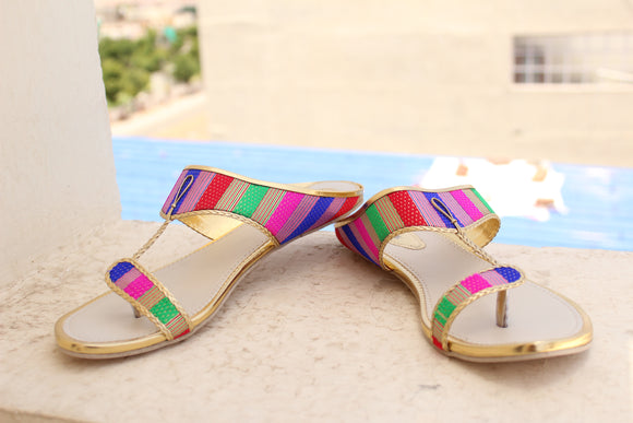 Dhanari Multicolor Flats Slippers For Women's (SAN-055)