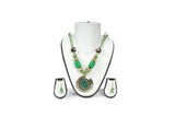 Dhanari Women's  Traditional Jewellery Set With Green color Beads (JW-70) Q0010