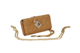 Dhanari Golden  Color Clutch With Removable Chain For Women's (BG-42) P07